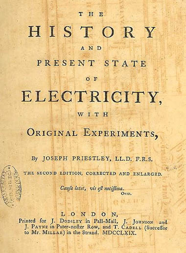 Image from Priestley's History and present state of electricity